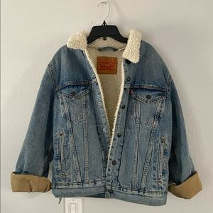 Levi's faux fur oversized denim jacket